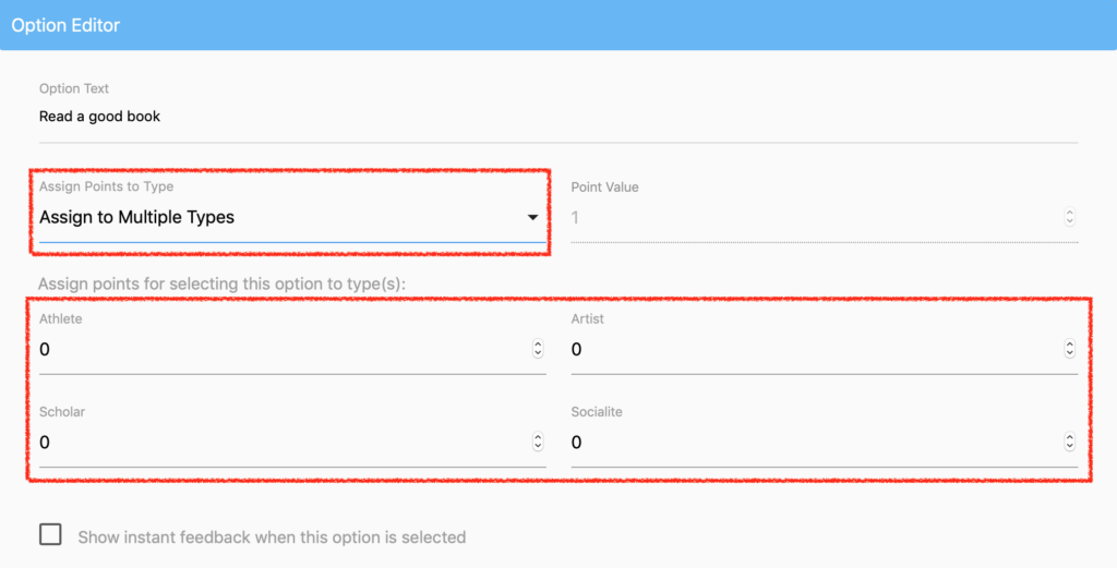 Assign Option Points to Multiple Types