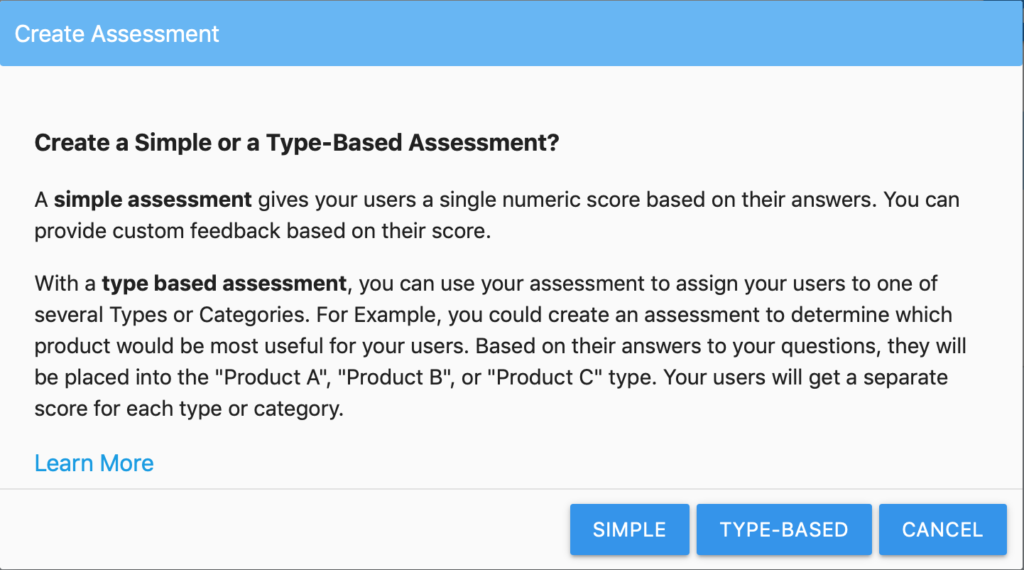 Create New Assessment Pop-up