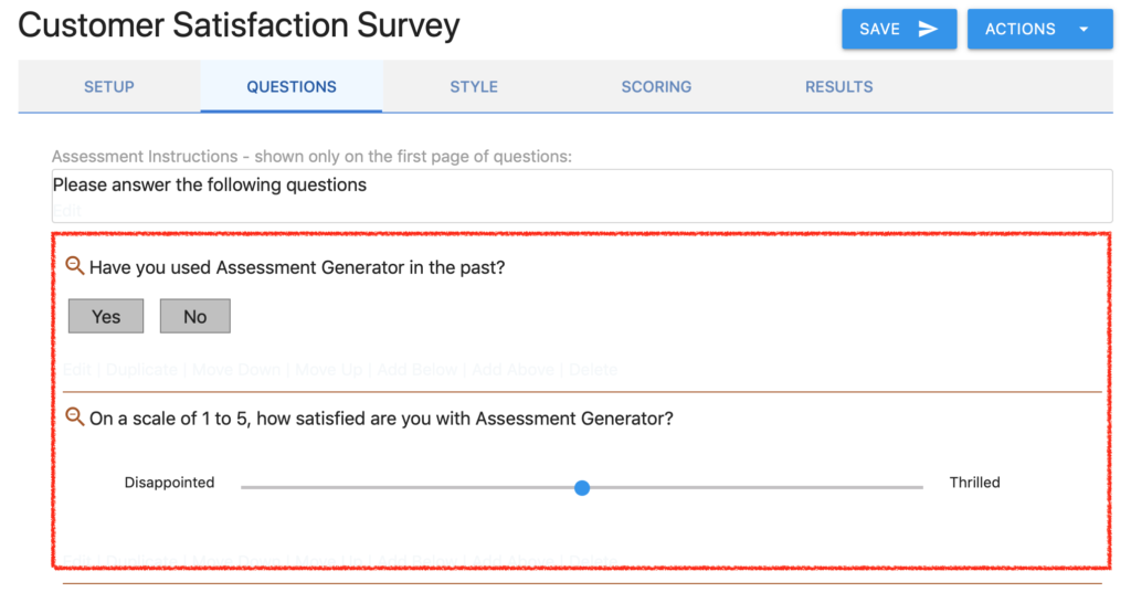 Questions Tab with Scale Question