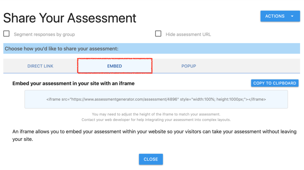 Embed your assessment in an iframe