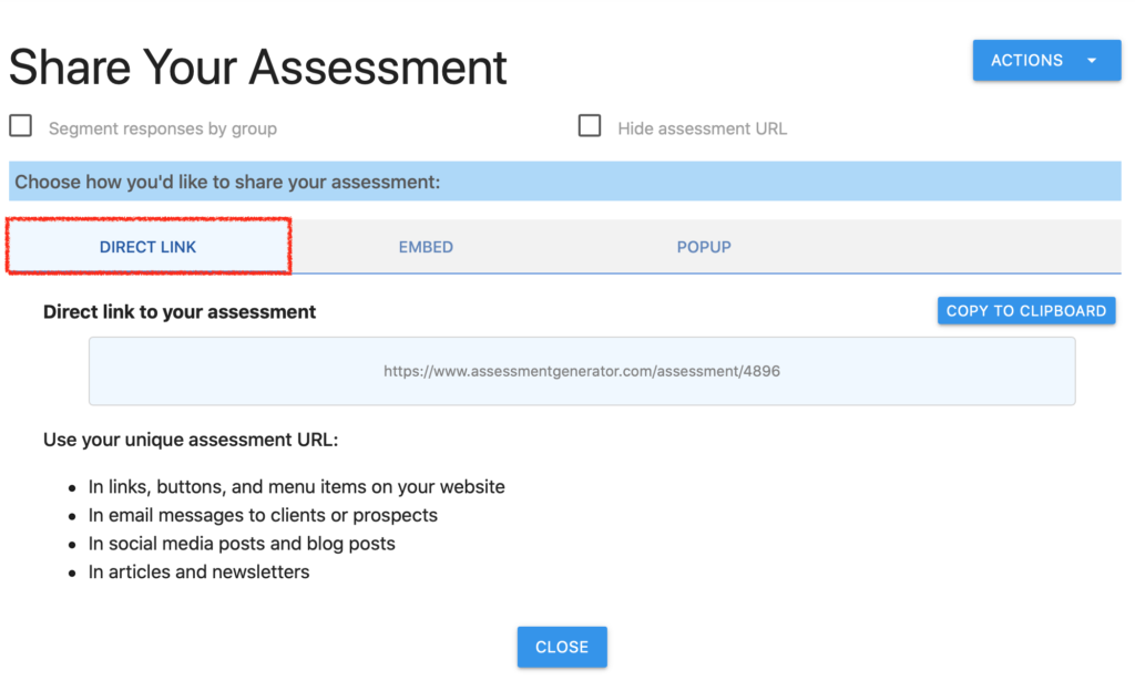 share your assessment via direct link