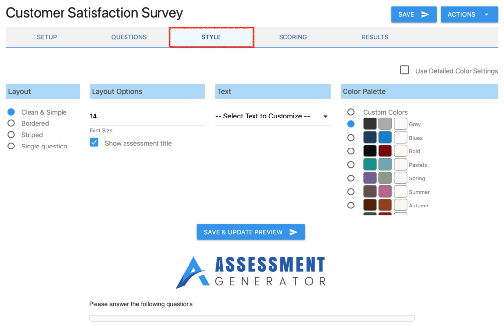 styling your assessment