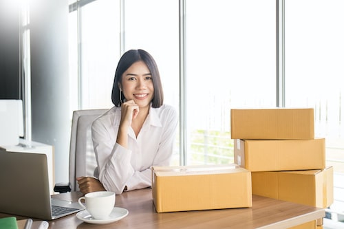 Start up small business entrepreneur SME or portrait freelance woman working with box at home concept, Young Asian small business owner, online marketing packaging and delivery, SME concept
